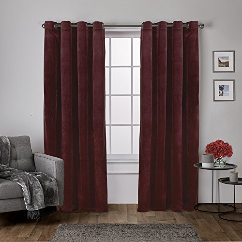 Burgundy Velvet Curtains - Exclusive Home Curtains Velvet Heavyweight Window Curtain Panel Pair with Grommet Top, 54x84, Burgundy, 2 Piece