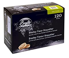 Bradley Flavor Bisquettes are made from top quality hardwoods. The timed Bisquettes produce a cool clean smoke. 120 pack produces 40 hours of smoke enough for 20 or more smokings.
