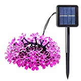 Easternstar Cherry Blossom Solar String Lights,21ft 50 LED Waterproof Solar Power Lamp with 2 Working Modes for Garden,Patio,Yard,Indoor,Outdoor,Christmas,Party,Wedding Decoration(Pink)
