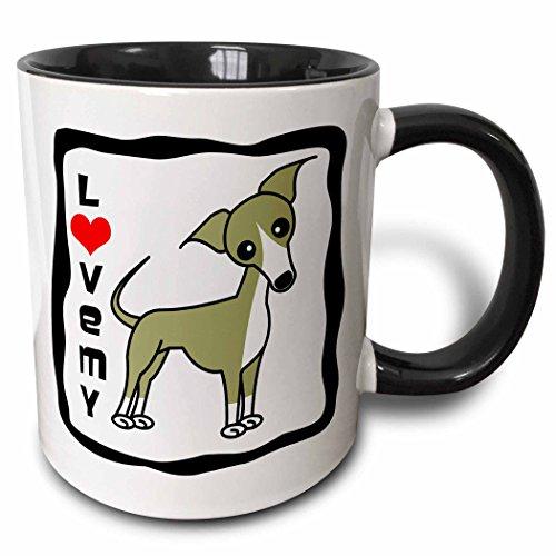 3dRose 12094_4 I Love My Italian Greyhound Fawn Tan-Two Tone Black Mug 11-Ounce Multicolored