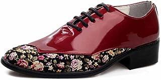 GLSHI Hombres Zapatos De Vestir Primavera Otoño Nueva Charol Flores Puntiagudas Zapatos De Boda Británicos