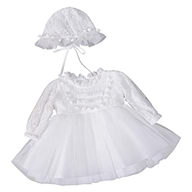 637cb335d Amazon.com  Baby Girls Winter Long Sleeve Floral Lace Pom Pom Bib ...