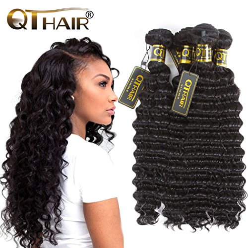 QTHAIR 10A Virgin Brazilian Hair Deep Curly Wave Bundles 100% Unprocessed Brazilian Deep Wave Human Hair Weaves Beauty Forever Brazilian Virgin Deep Wave Hair