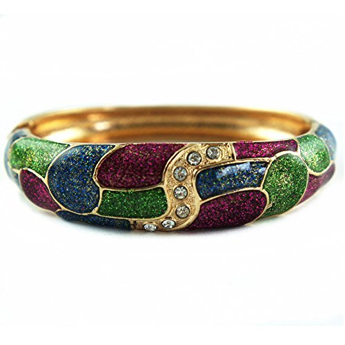 UJOY Women's Cloisonne Bangle Vintage Geometric Rhinestone Bracelet Spring Hinged Zinc Alloy Jewelry Box 88A27 purple ()