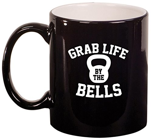 Ceramic Coffee Tea Mug Grab Life By The Bells Kettlebell Funny Workout Fitness (Black)