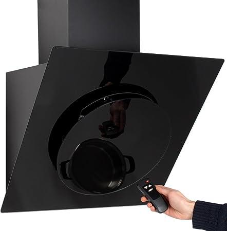 Campana extractora de humos Campana de pared de cocina panorámica 60cm cristal negro 650 m³: Amazon.es: Hogar