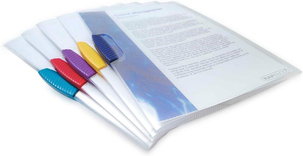 Rapesco Documentos - Portadocumentos transparentes A4 con clip en colores variados, 5 unidades
