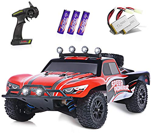 RC Cars, 1/18 Scale High-Speed Remote Control Car for Adults Kids, 40+ kmh 4WD 2.4GHz Off-Road Monster RC Truck, All Terrain Electric Vehicle Toy Boy Gift with 2 Batteries for 40+ Min Play