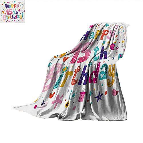 15th Birthday Lightweight Blanket Girlish Design Teenager in Cartoon Style Cute Figures Birds and Flowers Print Lightweight Blanket 60