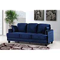 Meridian Furniture Ferrara Velvet Nailhead Sofa, Navy