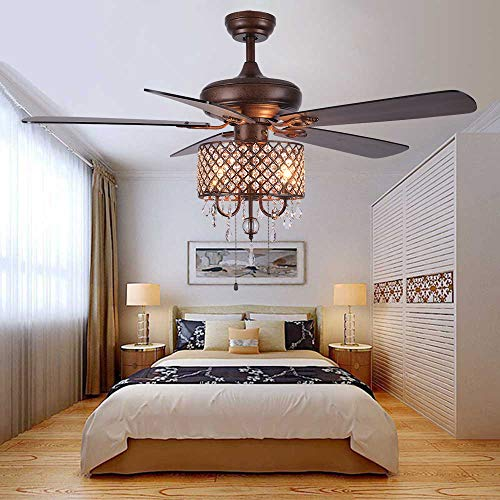 Andersonlight Rustic Ceiling Fan with Crystal Light Home Indoor Quiet Reversible Blade Ceiling Fan Chandelier Bedroom Living Room Family Ideal Fan Light, New Bronze, 52-Inch (Crystal style)
