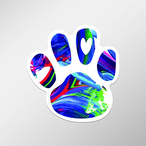 Dog Paw Print Heart Love Vinyl Decal Sticker for Chromebooks, Macbooks, Car, Truck | 2-Pack | 3.75-Inches by 3.75-Inches | UV Resistant Laminate | Premium Quaility Stickers | PD637