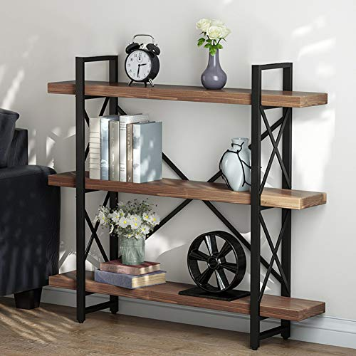 (LITTLE TREE Bookcase, 47.24 Inches Solid Wood 3-Tier Industrial Style Bookcases and Book Shelves, Vintage Metal and Wood Free Standing Bookshelf, Retro Brown)