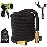 TruTec 100 Foot, Triple Layer Latex Core, Solid Brass Fitting Shut Off Valve Spray Nozzle Stainless Steel Holder, Expanding Garden Hose - Black