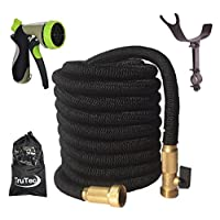 New Design Expandable Garden hose, Triple Layer Latex Core, 48 Ply, Solid Brass Fitting Shut Off Valve Spray Nozzle Stainless Steel Holder (50ft Black)