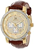 Joshua & Sons Men's JS-28 Multifunction Crystal Pave Dial Quartz Watch With Leather Strap (Brown)
