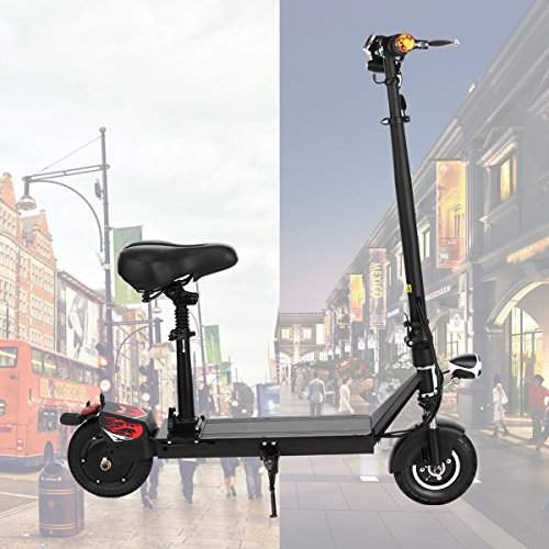 Weskate Black Adult Electric Scooter Foldable with Seat and Front/Rear Suspension Wheels, Outdoors Commuting Tool with Key Start/Lock, Quick Charge Battery,350W Powerful Motor-Max 265lb and 15miles