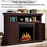 JAMFLY 55 inch Fireplace Electric Mantel Fireplace Heater with Multicolor Flames, Standing Fireplace with Remote Control,1500W by JAMFLY