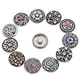 Souarts Mixed Random Antique Silver Color Snap Button Jewelry Charms 20mm Pack of 6pcs