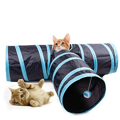 T-shape Cat Tunnel, 3 Ways Open Hole, Foldable Creak Pet Toy with Hanging Pompon for Cat, Kitty, Kitten, Puppy, Rabbit