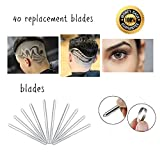 40pcs Replacement Blades Stainless Steel For Hair Tattoo Pen and Hair Engraving Shaver Eyebrow Trimming Barber Razors Hair Styling Designs For Men Women Children