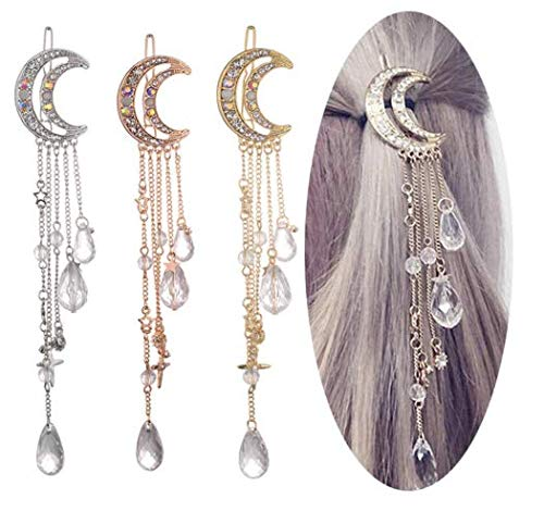 VIKSON INTERNATIONAL New Arrival Moon Shaped Rhinestone Crystal Tassel Long Chain Beads Dangle Hairpin Hair Clip Hair Jewelry for Women and Girls (Golden) (B07X1TX7Q9) Amazon Price History, Amazon Price Tracker