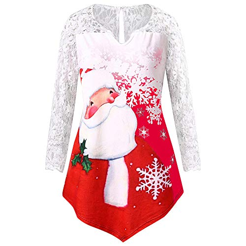Preferential New Zlolia Women's Plus Size Long Sleeve Lace Tops Christmas Santa Claus Print Tunic Tee Shirt Blouse for $<!--$8.22-->