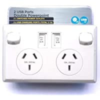 Gerintech Double Wall Socket with 2 USB Ports and 2 Switched Power Outlets, 10A (White)