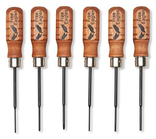 "Small Screwdriver Set – 6 Mini Precision Screw Drivers – Durable Chromium Vanadium Steel - 3 Micro Phillips #00, #000, #0000 & Matching 3 Flat 3/32"", 5/64"", 1/16"". - Made In The USA - Free Eagles, LLC"
