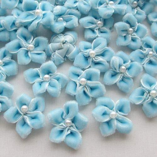 (DalaB 20pcs 25MM Blue Color U Pick Velet Ribbon Flower Bauhinia W/Pearl Appliques Wedding)
