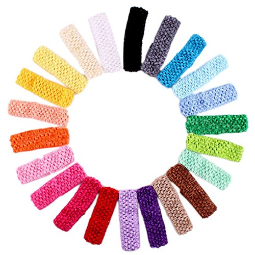 WensLTD 10pc Crochet Headbands Assorted Variety Pack Babies Hair Band