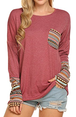 POGTMM Women's Long Sleeve O-Neck Patchwork Casual Loose T-Shirts Blouse Tops (XL, Z#Dark Red)