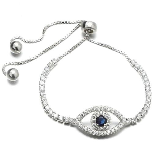Gnzoe bracciale donna in argento 925 a forma di occhio greco donna bracciale  bracciali da polso bianco blu con zirconi Amazon.it Gioielli