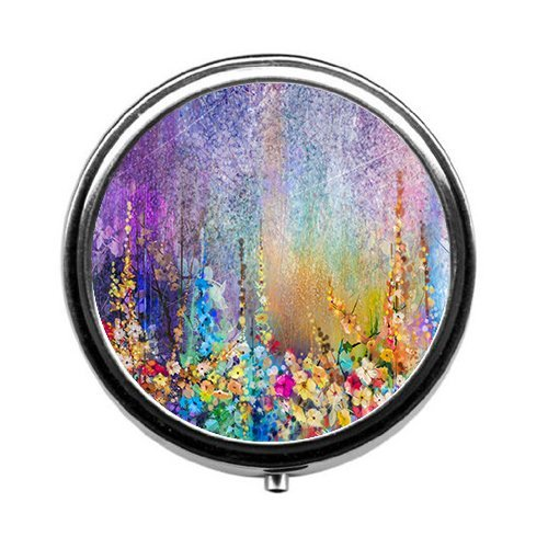 TaiGe Abstract floral watercolor painting pill box/pill case-Round pill box/case- Three-compartment pill box/pill case