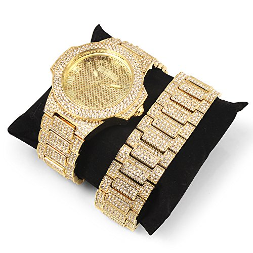 Gold Iced Out Watch - Techno King Men's Iced Out Hip Hop Metal Band Watch and Matching Studded Bracelet Gift Set (GM1809-GD)