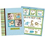 Baby Boy Memory Book Hardcover Record Babys First Five Years Diary Precious Moments Milestone Storage Box Keepsake Scrapbook Journal Photo Album Blue Monkey Animals Art by Jenny and Jeff Designs