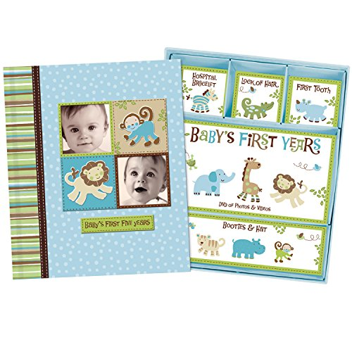 Baby Boy Memory Book Hardcover Record Babys First Five Years Diary Precious Moments Milestone Storage Box Keepsake Scrapbook Journal Photo Album Blue Monkey Animals Art by Jenny and Jeff -