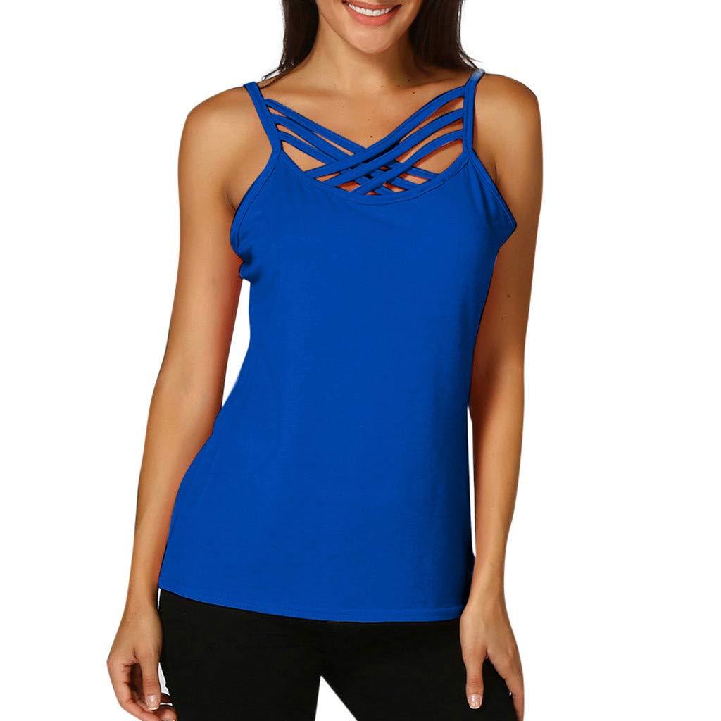 Keliay Cute Womens Tops Summer,Women Hollow Out Sleeveless Crop Top Vest Tank Shirt Blouse Cami Tops Blue