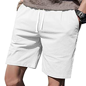 LTIFONE Mens Casual Shorts Elastic Waist 7″ Inseam with Drawstring Slim Fit Summer Pants with Pockets