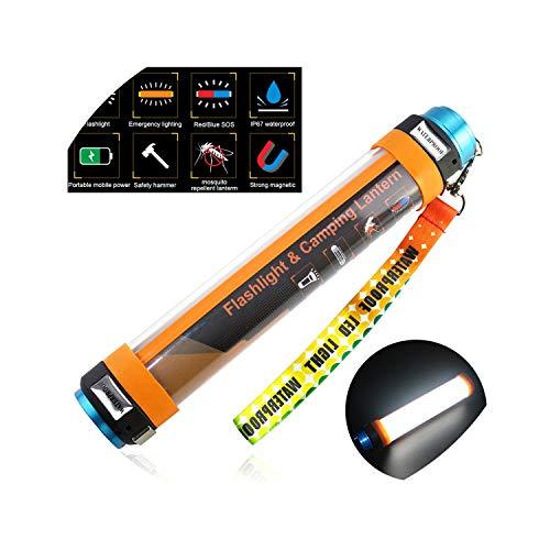 Camping Light USB Rechargeable Waterproof Multi Functional Camp Lantern 6000mAh Battery Flashlight Hanging Magnetic lamp,16cm 2200mAh