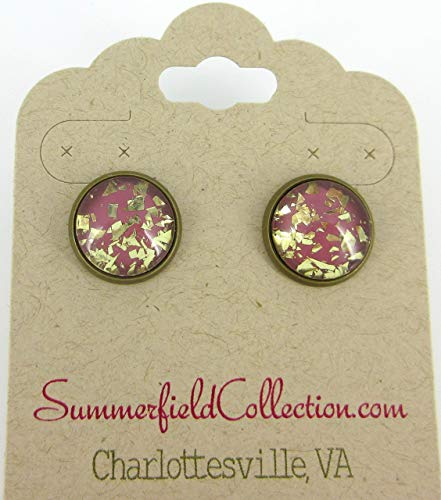 Antiqued Gold-tone Plum Berry Glitter Glass Stud Earrings 12mm Hand-painted