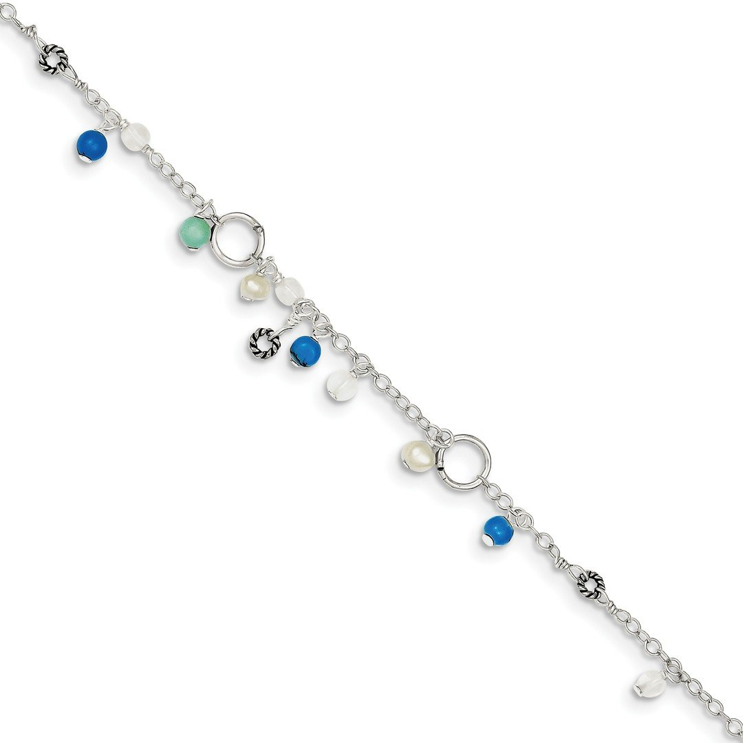 IceCarats 925 Sterling Silver Turquoise/clear Bead/ Freshwater Cultured Pearl Anklet For Women Ankle Beach Chain Bracelet Blt