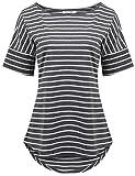 POGTMM Women's Casual Raglan Short Sleeve Patchwork Striped Cotton Shirts Loose T-Shirt Tunic Tops (Charcoal Grey, US XXL(20-22))
