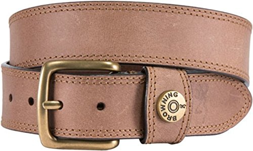Browning Lifestyle Belt, Leather Slug, Tan Brown, 40, Pack of 1 (Mens Browning Brown Leather Belt)
