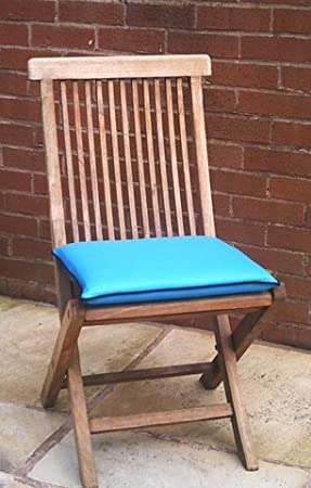 Zippy Wipe Clean Dining Chair Cushion   Garden Furniture   Turquoise Blue +  Black Piping
