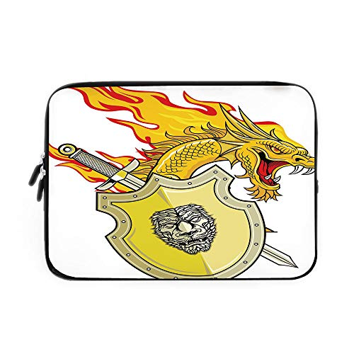 Dragon Laptop Sleeve Bag,Neoprene Sleeve Case/Legendary Creature with Royal Shield Sword Hero Knight Medieval Print/for Apple MacBook Air Samsung Google Acer HP DELL Lenovo AsusMarigold Pista