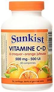 Sunkist Chewable Vitamin C and D Tablet, Juicy Orange, 500mg