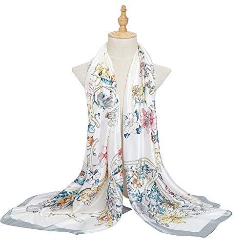 Bellonesc Women Scarves Fashion Lightweight Sunscreen 100% Silk Scarfs for Women (Silk Long Dress)