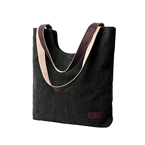 SELECTIA Durable Cotton Canvas Middle-sized Tote Shoulder Bag Sport and Leisure Bag and Case Kids for Work Grocery Shopping School Picnic Handbag ()