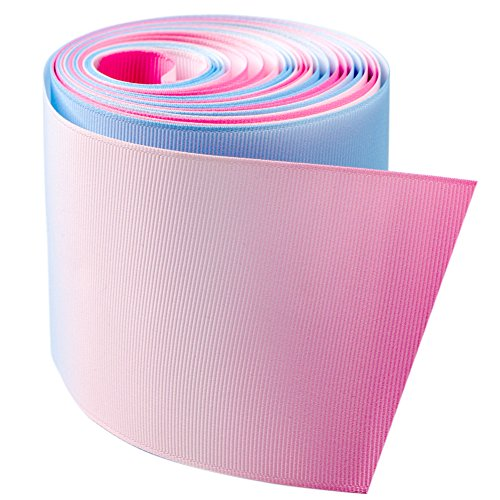 New Style Grosgrain Ribbons 3 Inch Width, 5 Yards Blue Gradien - Ribbon Bows Pink Grosgrain